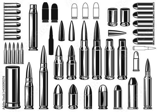 Fototapeta Set of Illustrations of bullets and cartridges in vintage monochrome style
