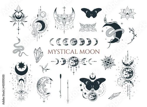 Fényképezés Mystical moon collection. Spiritual tattoo. Celestial prints.