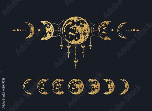 Photo Golden Celestial moon print