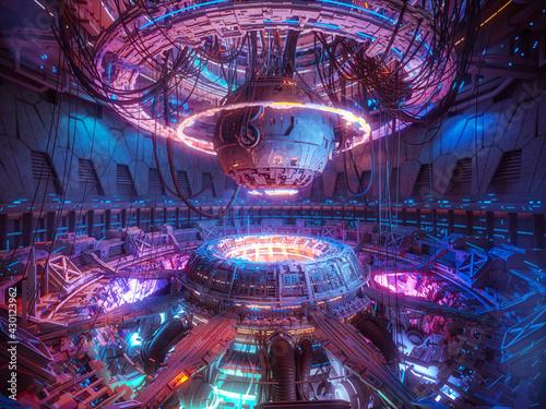 Obraz na plátně Technology futuristic background, interior science fiction spaceship