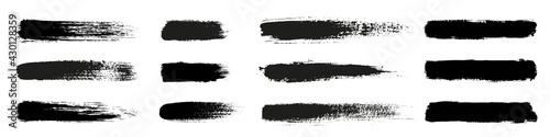 Fotografia, Obraz Big collection of grunge black paint, ink brush strokes
