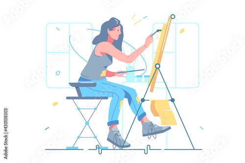 Photo Female artist painting on easel