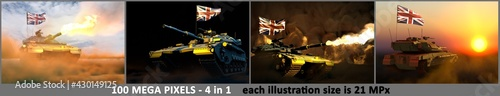 Foto 4 images of detailed tank with not real design and with United Kingdom (UK) flag