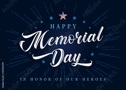 Fototapeta Happy Memorial Day lettering with stars and blue beams on background