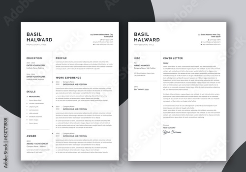Minimalist Resume and Cover Letter Set