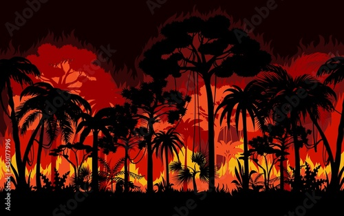 Tablou Canvas Wildfire in tropical forest vector background