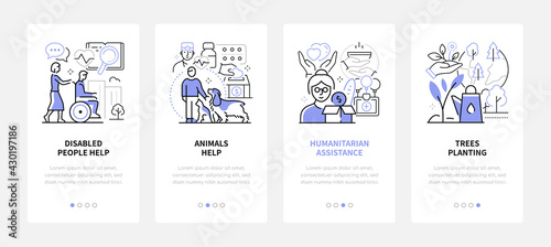Fotografia Charity and volunteering - line design style web banners