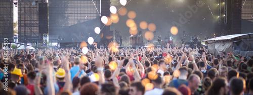 Fotografie, Obraz Summer music festival concert crowd