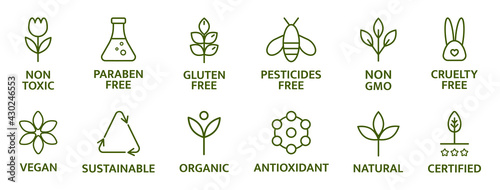 Canvas Print Organic and natural cosmetic line icons
