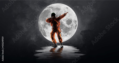 Billede på lærred Dancing astronaut on the background of the moon and space