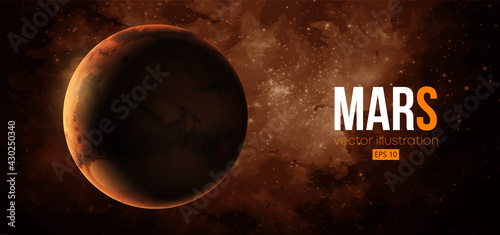 Photo Realistic Mars planet from space. Vector illustration