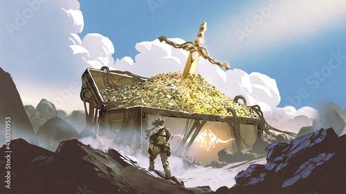 Obraz na plátně the hunter found a huge treasure chest on the mountain, digital art style, illus