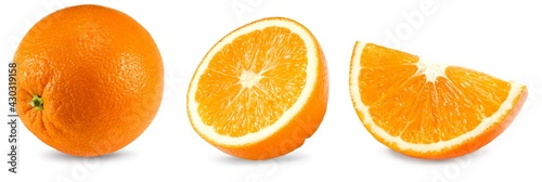 collection of cut of orange isolated on white background. healthy food. clipping path