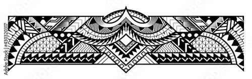 Obraz na plátně Abstract tribal art tattoo border