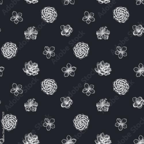 Canvastavla Seamless pattern with hand drawn chalk hibiscus, plum flowers, peach flowers, sa