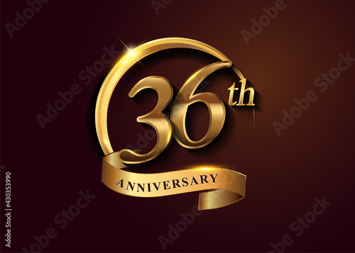 Fotografering 36th golden anniversary logo with gold ring and golden ribbon, vector design for birthday celebration, invitation card