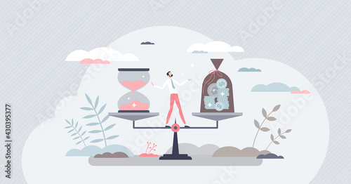 Opportunity cost as financial risk and benefit comparison tiny person concept Fototapeta