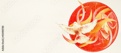 Canvas Print Pentecost, religious symbol. Christian watercolor banner, .