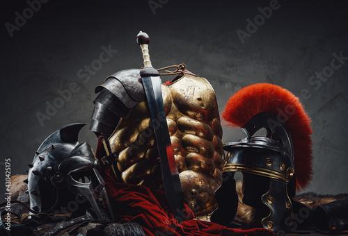Obraz na plátne Suit of armor of roman legionary and gladiato