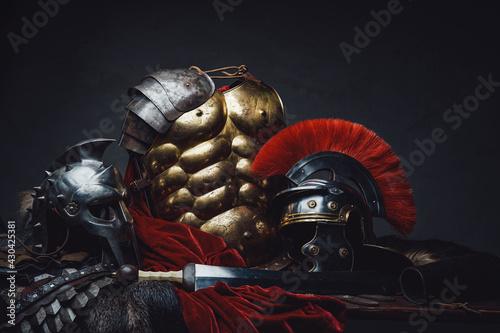 Fotografie, Obraz Ancient rome warrior and gladiator armor and sword