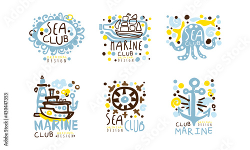 Fotografie, Tablou Sea Club Label Original Design with Anchor, Steering Wheel and Lighthouse Vector
