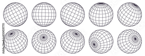 Globe grid spheres. Striped 3D spheres, geometry globe grid, earth latitude and longitude line grid vector symbols set. Spherical grid globe shapes #430459770