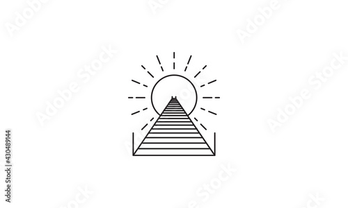Fotografia lines pier or dock wood logo vector symbol icon design graphic illustration