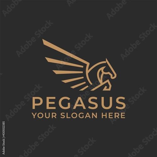 Stampa su Tela Pegasus Horse Jump Flying Logo