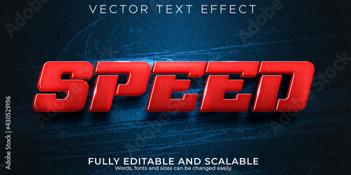 Fotografía Speed race text effect, editable fast and sport text style