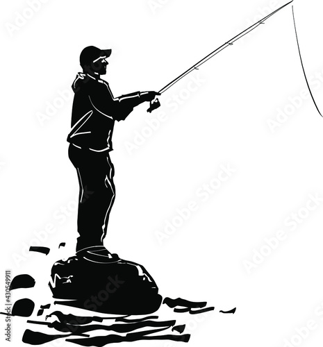 Canvas Print fisherman with fishing rod