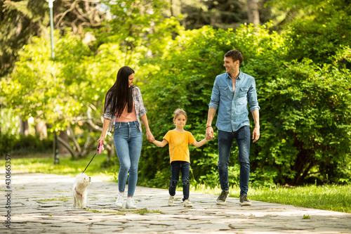 Billede på lærred Happy family with cute bichon dog in the park