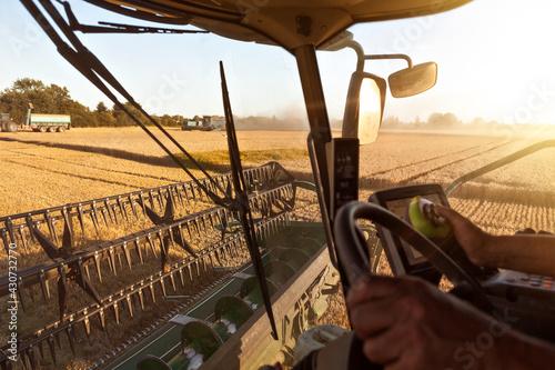 Fotografia, Obraz Inside a combine cab during harvest
