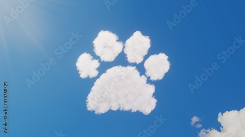 Fotografiet 3d rendering of white clouds in shape of symbol of paw on blue sky with sun