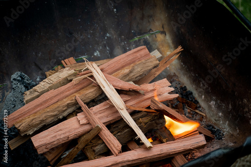 Starting the campfire in a firepit with kindling. Fototapeta
