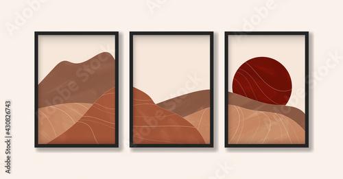 Obraz na płótnie Desert landscape with sun in earth tones in boho style