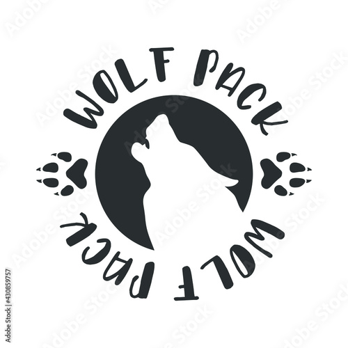 Photo Wolf Pack Illustration Badge Sign