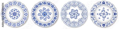 Fotografija Porcelain plates, blue on white pattern in oriental asian style