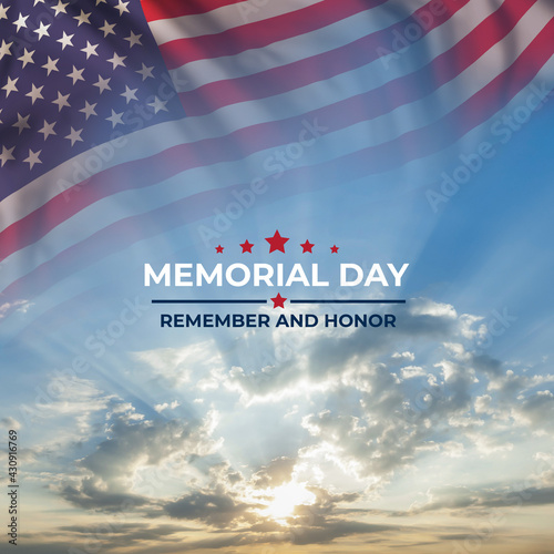 Memorial day card with flag and text