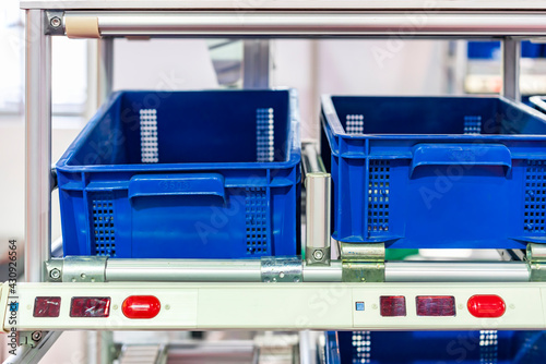 basket or plastic box container on roller rack or aluminum shelf with electronic display smart module system for management – control or operate stock such as quantity and data information etc Fototapeta