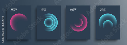 Canvas Print Cover templates set with vibrant gradient round shapes