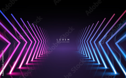 Fotografija Abstract neon light arrows background