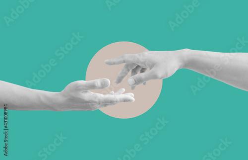Digital collage modern art. Helping hand