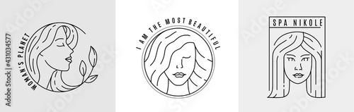 Canvas-taulu Logo woman face line vector.