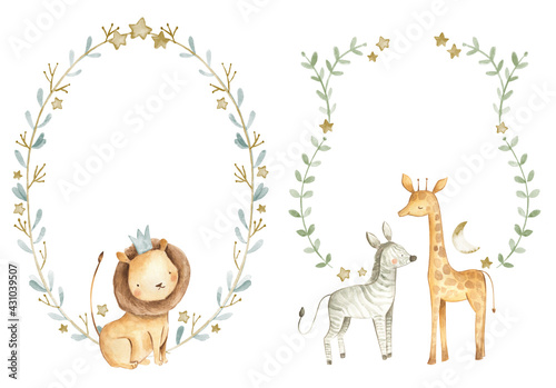 Photo Safari animals watercolor templates illustration for nursery and baby shower wit