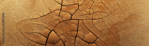 Stampa su Tela Detailed cracked soil showing a dry desert land scorched in the heat causing cracks