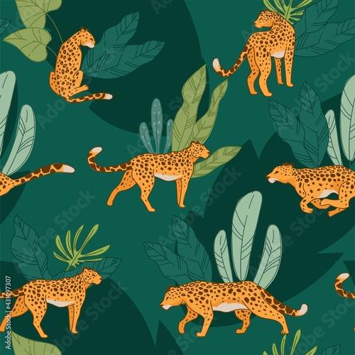 Canvas Print Leopard animal, cheetah with spot seamless pattern