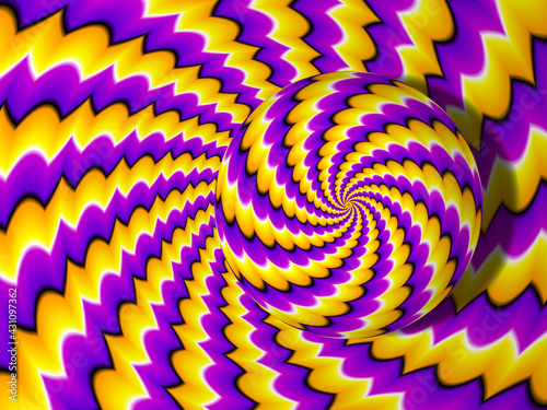 Yellow background with rotating sphere. Spin illusion. Fototapet
