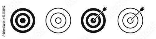 Fototapeta Set of icons of targets for archery isolated on a white background