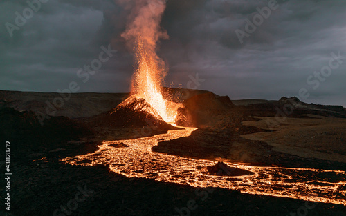 Canvas Print Exploding lava in the  erupting volcano in Iceland.