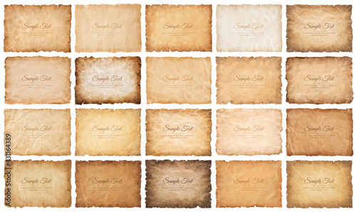 collection set old parchment paper sheet vintage aged or texture isolated on white background.